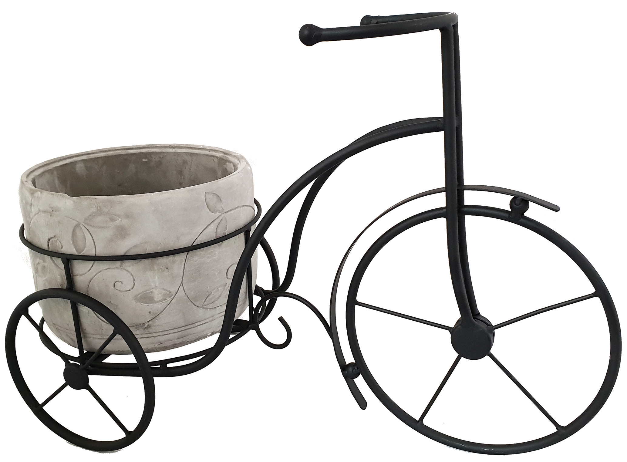 Metal Trike holding a concrete pot planter