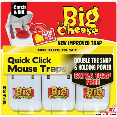 Big Cheese Quick Click Mouse Trap 3 Pack